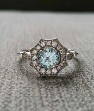 2Ct Round Blue Aquamarine Antique Milgrain Engagement Ring 14K White Gold FN SJ