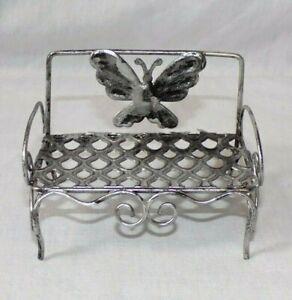 Miniature Dollhouse Metal Wire Fairy Garden Patio Bench Silver Butterfly 1:12