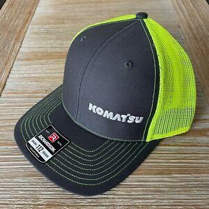 NEW - Komatsu Embroidered Richardson 112 Trucker Hat Cap - Charcoal / Yellow