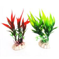 CW_ AU_ 11cm Red Green Plastic Plant Grass for Aquarium Fish Tank Landscape Deco