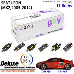 11 Bulbs LED Interior Light White Dome Light Kit For MK2 2005-2012 Seat Leon