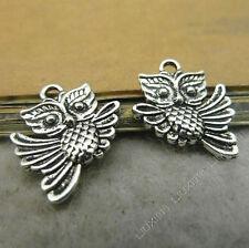 15x Tibetan Silver Owl Animal Pendant Charms Beads DIY Jewellery Accessories /99