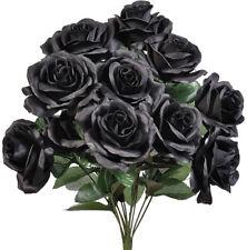 BLACK  12 Open Long Stem Roses Silk Wedding Flowers Bouquets Centerpieces Decor