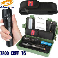 20000LM Zoomable XML T6 LED Tactical Police Flashlight+Battery+Manual+Case+Pouch