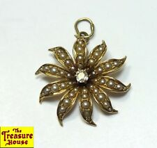 Antique Victorian Ornate 14K Gold Pearl Accent Diamond Solitaire Flower Pendant