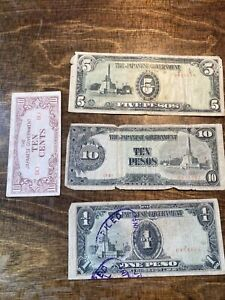 4 1940's Ww2 Japanese Occupation Bank Note Lot ~ 1, 5,10, Pesos ~ Philippines