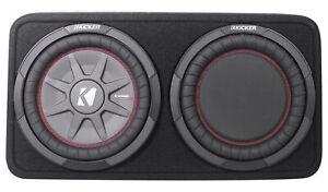 "Kicker 43TCWRT104 10"" Shallow Car Subwoofer In Slim Sub Box+Passive Radiator"