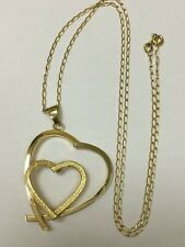 Large 9 Carat Yellow Gold HEART PENDANT & Chain