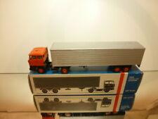 LION CAR 59 DAF 2800 TRUCK + EUROTRAILER - ORANGE + GREY 1:50 - GOOD IN BOX