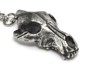 Wolf Skull Pendant with Aged Metal Finish, Werewolf Charm Necklace Spirit Totem