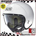 CASCO MOTO SCOOTER JET NOLAN N21 N-21 CLASSIC MONO BIANCO METAL 005 XS