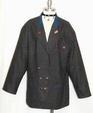 ALPHORN ~ BLACK WOOL Women GERMAN Hunting Dress Suit JACKET Over Coat Eu 44/16 L