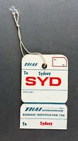 THAI INTERNATIONAL SYDNEY VINTAGE ORIGINAL AIRLINE BAG TAG LUGGAGE BAGGAGE LABEL