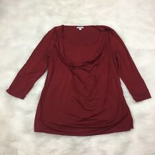 A Pea In The Pod Maternity Top Size L Large Burgundy Red Maroon Long Sleeve (P)