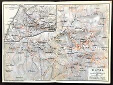 Antique Color Map - PORTUGAL - PLAN of SINTRA - Karl Baedeker - Original 1913