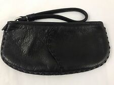LUCKY BRAND Whipstitch Black Pebble Grain Wristlet Handbag