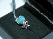 LOT 358 STUNNING BOULDER OPAL SOLID STERLING SILVER RING - SIZE J 1/2