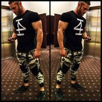 Men's Gym Muscle Bodybuilding Sport Training Cotton Fitness T-shirt Tee Vest