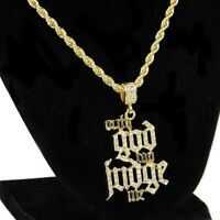 """Only God Can Judge Me"" Rope Chain Iced Pendant Gold Finish Hip Hop Necklace 24"""