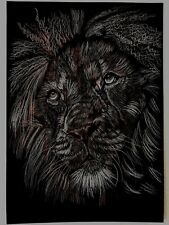 Lion Big Cat Artist Original Signed from the artist Charcoal Drawing animal A3
