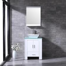 24'' White Bathroom Vanity Cabinet Single Glass Top Vessel Sink w/Faucet Mirror