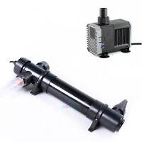 36W UV Sterilizer Light Clarifier Pond Aquarium Fish Tank Filter+ 800GPH Pump