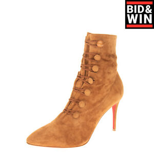 RRP €1805 CHRISTIAN LOUBOUTIN Leather Ankle Boots EU 38 UK 5 US 8 Made in Italy