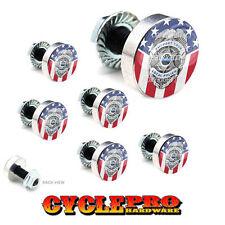 7 Pcs Billet Fairing Windshield Bolt Kit For Harley POLICE BADGE USA FLAG - 154