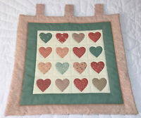 Country Quilt Wall Hanging, Printed Hearts, Hand Quilted, Peachy Pink, Green