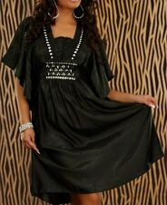 Trendy Femme Girly Robe Tunique Argent Pierres Satin Brillant 34/36/38 Noir Neuf