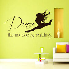 Wall Vinyl Decals Dancer Dance Like no one Quote Decal Home Decor Mural Z503