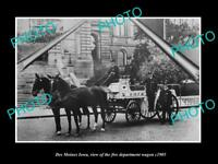 OLD LARGE HISTORIC PHOTO OF DES MOINES IOWA, THE FIRE DEPARTMENT WAGON c1905