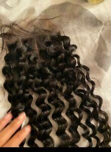 """12A Three way Part 4*4 Lace Closure Deep Wave Curly lace closure Human Hair 12"""""""