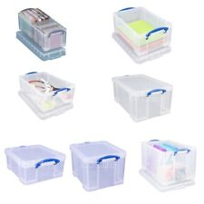 Really Useful Storage Boxes ALL SIZES 3L - 84L Quality Clear Large Box With Lid