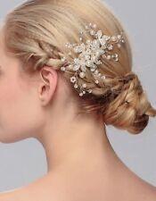 Luxury Bridal Wedding Hair Comb Pearl Crystal flower leaf Headpiece Hair Comb UK