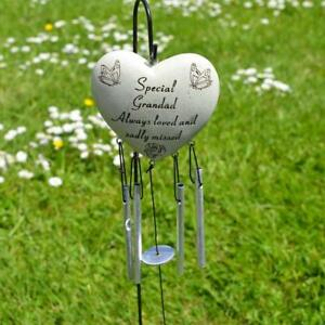 Special Grandad Heart Memorial Wind Chime Tribute Plaque with Butterfly Flower