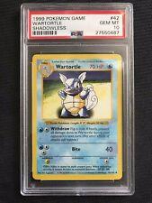 🌟 PSA 10 Gem Mint WARTORTLE Pokemon 1999 Base Set SHADOWLESS Non-Holo 42/102 🌟