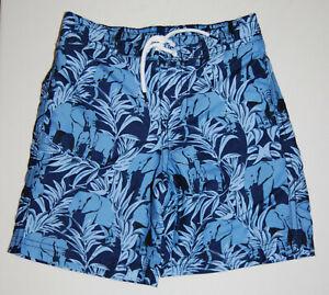 NWT Janie and Jack Toddler Boys Navy Blue Elephant Print Lined Swim Trunks sz 3T
