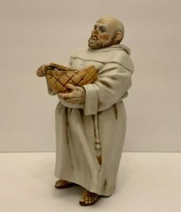 Algora Porcelain Religious Monk Slicing a Loaf of Bread Statue, Spain