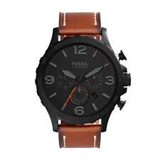 "Fossil JR1524 ""Nate"" Analog Display Chronograph Quartz Leather Strap Watch"