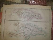 Jamaica Hayti Islands mapcirca 1863 Dispatch Atlas Engraved E.WellerFramed20more