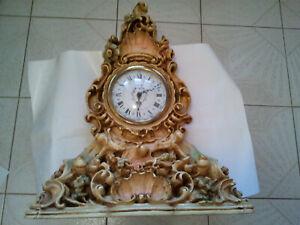 VINTAGE SILIK FRENCH BAROQUE STYLE DECORATIVE RUSTIC TABLE DESK CLOCK