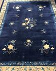 1890 Chinese Peking Rug 12 x 15' 3  navy with textured border