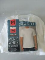 Mens Kirkland White 6 Pack TShirts Crew Neck Solid 100% Cotton Medium Undershirt