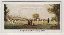 1777 Cricket Match At Hambledon Britain England 1930s Ad Trade Card