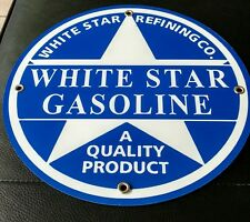 """White Star Gasoline gas oil sign ...~12"""" round ...FREE ship on any 8 signs"""