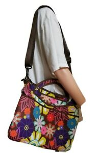 ie Laptop Computer Messenger Travel Bag Floral Shoulder Strap Colorful Zippered