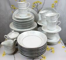 White Platinum Rose fine china Dining Service / Set for 8. Plates cups bowls etc