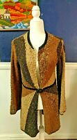 Curio Anthropologie Duster Cardigan Wool Sweater Brown Patchwork Sz Medium M