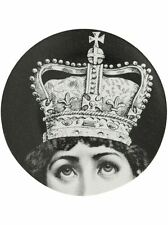 Rare Fornasetti LINA Face Wearing a Crown Royal PLATE Piero Fornasetti NIB